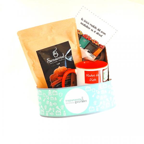 Café mezcla italiana y avellana mas tazón y posavasos arte chiloé